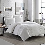 City Scene Variegated Pleats Full/Queen Duvet Cover Set in White