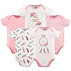 Hudson Baby® Size 6-9M 5-Pack Dream Catcher Short Sleeve Bodysuits in Pink