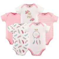 Hudson Baby® Size 12-18M 5-Pack Dream Catcher Short Sleeve Bodysuits in Pink