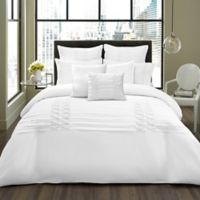City Scene Triple Diamond Twin Duvet Cover Set in White