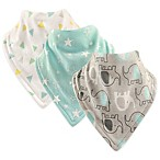 Hudson Baby® 3-Pack Elephant Cotton Bandana Bibs in Mint