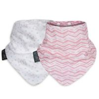 Cheeky Chompers® Neckerbib® 2-Pack Rosy Days & Hippo Bibs in White/Pink