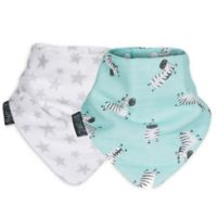 Cheeky Chompers® Neckerbib® 2-Pack Stars & Zebra Bibs in White/Blue