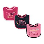 Luvable Friends® 3-Pack Girls Rule Drooler Bib Set