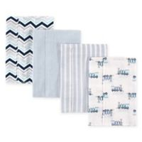 BabyVision® Luvable Friends® 4-Pack Flannel Burp Cloths in Blue Train