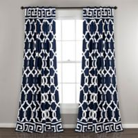 Lush Décor Maze Border 84-Inch Back Tab Room Darkening Window Curtain Panel Pair in Navy