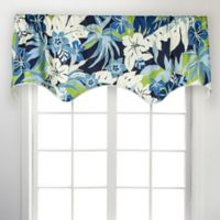 Tropical Garden Scallop 50-Inch Rod Pocket Window Valance in Blue