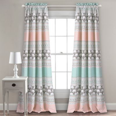 Lush Décor Elephant Stripe Rod Pocket Room Darkening Window Curtain Panel  Pair In Turquoise