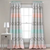 Lush Décor Elephant Stripe Rod Pocket Room Darkening Window Curtain Panel Pair in Turquoise