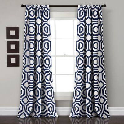 Lush Decor Octagon Blocks 84 Inch Rod Pocket Window Curtain Panel Pair In Navy