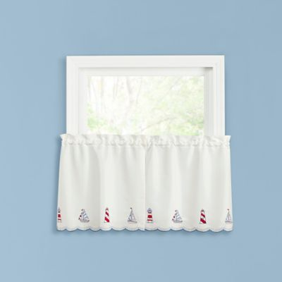 Lighthouse 36 Inch Kitchen Window Curtain Tier Pair In Blue/Red