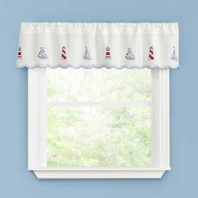 Lighthouse Kitchen Window Curtain Valance In Blue/Red