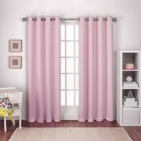 Textured Woven 108-Inch Grommet Top Room Darkening Window Curtain Panel Pair in Pink