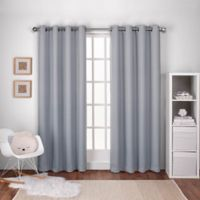 Textured Woven 108-Inch Grommet Top Room Darkening Window Curtain Panel Pair in Light Grey
