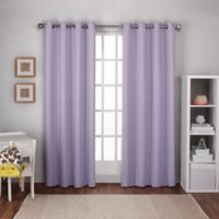 Textured Woven 108-Inch Grommet Top Room Darkening Window Curtain Panel Pair in Lilac