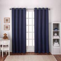 Textured Woven 108-Inch Grommet Top Room Darkening Window Curtain Panel Pair in Navy