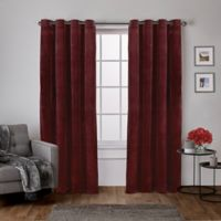 Velvet 108-Inch Grommet Top Window Curtain Panel Pair in Burgundy