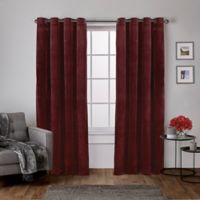 Velvet 108-Inch Grommet Top Window Curtain Panel Pair in Burgundy