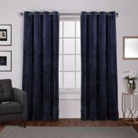 Velvet 84-Inch Grommet Top Window Curtain Panel Pair in Navy