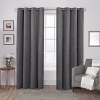 Velvet 84-Inch Grommet Top Window Curtain Panel Pair in Silver