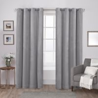 Velvet 84-Inch Grommet Top Window Curtain Panel Pair in Soft Grey