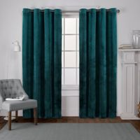 Velvet 108-Inch Grommet Top Window Curtain Panel Pair in Teal