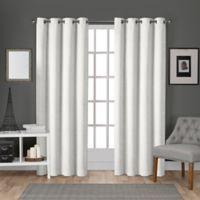 Velvet 96-Inch Grommet Top Window Curtain Panel Pair in White