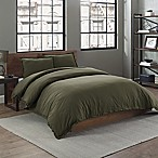 Garment Washed Solid King Duvet Cover Set in Army Green