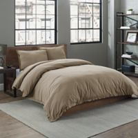 Garment Washed Solid Twin Duvet Cover Set in Taupe