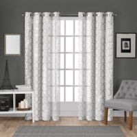 Panza 108-Inch Grommet Top Window Curtain Panel Pair in White/Silver