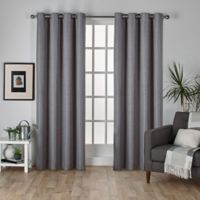 Raw Silk 108-Inch Grommet Top Room Darkening Window Curtain Panel Pair in Black