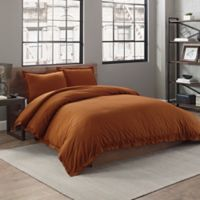 Garment Washed Cotton Solid Twin Duvet Cover Set in Spice