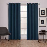 Raw Silk 96-Inch Grommet Top Room Darkening Window Curtain Panel Pair in Blue