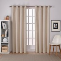 Raw Silk 108-Inch Grommet Top Room Darkening Window Curtain Panel Pair in Taupe