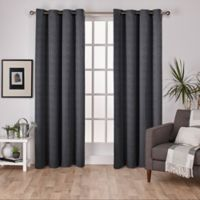 Exclusive Home Virenze 108-Inch Grommet Window Curtain Panel Pair in Black