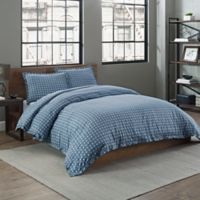 Garment Washed Printed King Duvet Cover Set in Peacock Basketweave