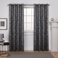Watford 84-Inch Grommet Top Room Darkening Window Curtain Panel Pair in Black/Silver