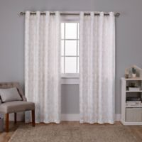 Watford 84-Inch Grommet Top Room Darkening Window Curtain Panel Pair in White/Gold