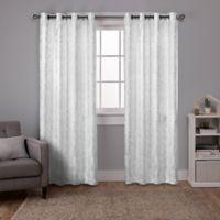 Watford 108-Inch Grommet Top Room Darkening Window Curtain Panel Pair in White/Silver