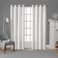 Exclusive Home Woodland 108-Inch Grommet Window Curtain Panel Pair in White/Silver