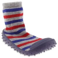 Capelli New York Size 18M Stripe Slipper Socks in Blue/Grey/Red