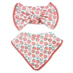 Toby™ 2-Piece Strawberry with Pom Pom Trim Headband and Bib Set in Coral