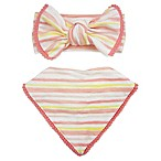 Toby™ 2-Piece Watercolor Stripe with Pom Pom Trim Headband and Bib Set