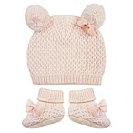 Toby™ Newborn NYGB 2-Piece Quilted Double Pom Hat and Booties Set in Pink