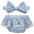 Toby™ Newborn 2-Piece Headband and Diaper Cover Set in Chambray