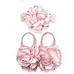 Curls & Pearls 2-Piece Rose Footwrap and Headband Set in Pink