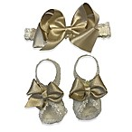Curls & Pearls 2-Piece Headband Bow and Footwrap Set in Gold