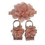Curls & Pearls 2-Piece Flower Headband and Footwrap Set in Peach/Gold