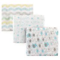 Luvable Friends® 3-Pack Muslin Swaddle Blankets in Green Elephants