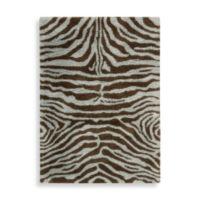 Nourison Splendor 5' x 7' Hand Tufted Shag Area Rug in Aqua/Brown